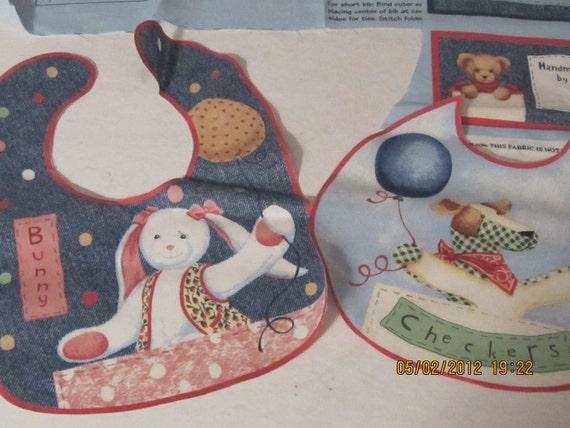 DAISY KINGDOM Blue Jean Teddy Bib Fabric Panel, 7 bibs ready to sew