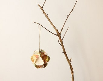 Geometric Upcycled Paper Ornament-Warm Wishes