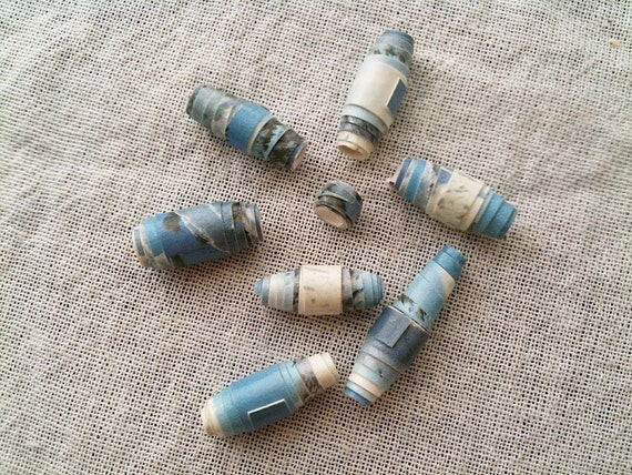 Wintery Blue and White Paper Beads-VIntage Christmas Card Stock
