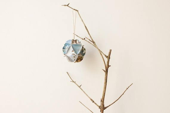 Geometric Upcycled Paper Christmas Card Ornament-Woodland Snow