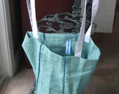 Original Tote Bag for Groceries, Books, Everyday - Mint Green and White - FREE Shipping Domestically