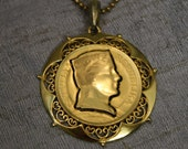 Vintage Latvian Gold Coin Cameo Silhouette Cut Out with Filigree Setting - eveningangel