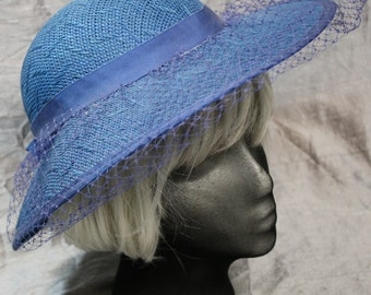 Blue Veiled Straw Sun Hat