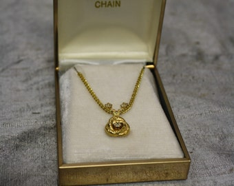 Vintage Gold Filled Pendant and Earring Set with Original Box