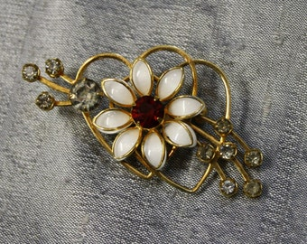 Vintage Hearts and Flower Brooch