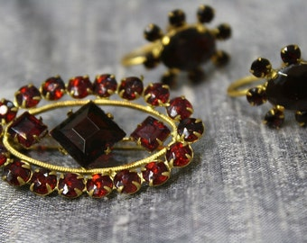 Vintage Garnet Rhinestone and Gold Brooch and Screw Back Earring Set