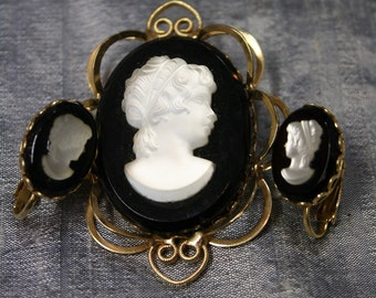 Vintage Frosted Cameo Brooch and Earring Set