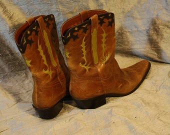Vintage Brazilian Leather Cowboy Boots with Green and Black Detail - Size 10
