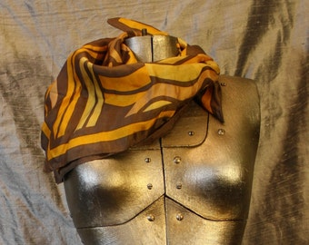 Vintage Brown and Yellow Swirl Scarf