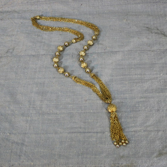 Long Golden Chain Tassel and Bead Necklace