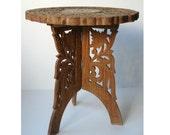 Vintage Indian Carved & Inlaid Wood Altar Table