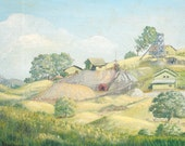 Vintage Original Painting - California Green Rolling Hills & Farm - Joan Remington