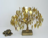 Holiday Sale - Vintage Shimmering Golden Bonsai Tree - Free Shipping Etsy