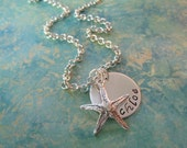 Personalized Necklace - Hand Stamped Sterling Silver Custom Mommy Jewelry - Summer Time Star Fish -