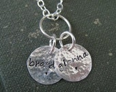 Custom Hand Stamped Jewelry - Personalized Sterling Silver Mommy Necklace.... Name Tags