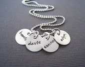 Hand Stamped Mommy Jewelry - Personalized Sterling Silver Necklace - FOUR