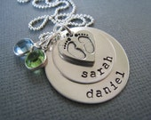 Personalized Necklace - Hand Stamped Sterling Silver Mommy Jewelry - Stacked Baby Feet