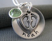 Custom Hand Stamped Jewelry - Personalized Sterling Silver Mommy Necklace - Cupped Baby Feet with Swarovski Crystal Birthstone