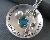 Hand Stamped Mommy Necklace - Sterling Silver Personalized Jewelry - Sterling Silver Cross Cupped with Pearl and Birthstone