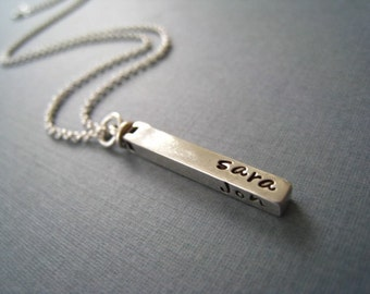 Hand Stamped Mommy Jewelry -  Personalized Solid Sterling Silver Necklace - The Swivel bar