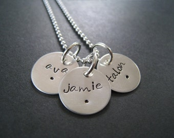 Hand Stamped Mommy Jewelry - Personalized Sterling Silver Necklace - TRIO