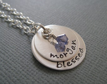 Hand Stamped Jewelry - Personalized Sterling Silver Necklace - Baptism Gift - Mommy Jewelry