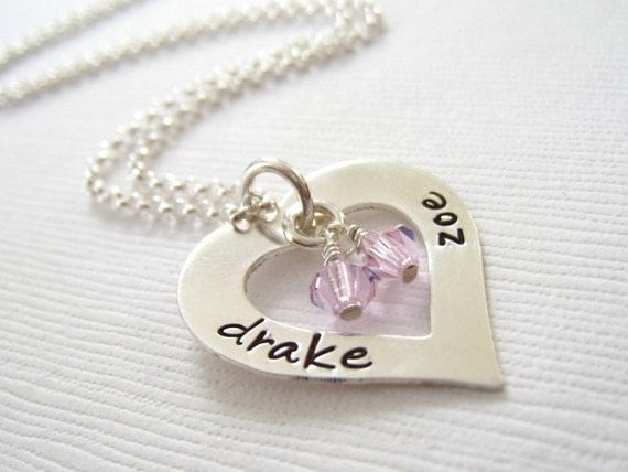 I Heart You.... Sterling Silver Personalized Hand Stamped Necklace