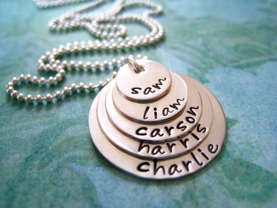 STACKED..... Five Disc Layered  Personalized Hand Stamped Sterling Silver  Necklace