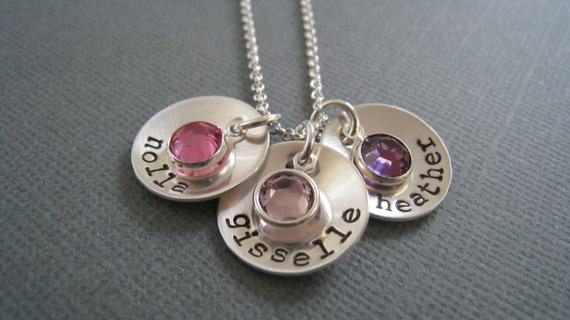 Hand Stamped Mommy Jewelry - Personalized Sterling Silver Necklace.... Dommed Trio with Swarovski Birthstones