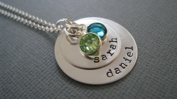 Hand Stamped Mommy Necklace - Personalized Sterling Silver -  Layers of Love with Birthstones