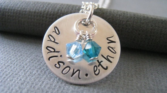 Hand Stamped Mommy Jewelry - Sterling Silver Personalized Necklace - Two Names with Swarovski Crystal Birthstones
