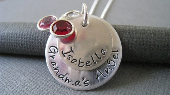 Hand Stamped Mommy Jewelry - Sterling Silver Personalized Necklace - Grandma's Angel with Swarovski Crystals