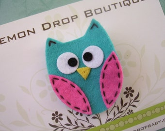 FREE SHIPPING with 25 dollar order! Turquoise and Pink Felt Owl Hair Clip-No Slip Grip