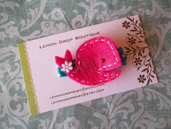 Hot Pink and Turquoise Felt Whale Hair Clip-No Slip Grip