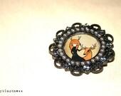 Deer Girl Brooch oval handmade by Ladyblackness