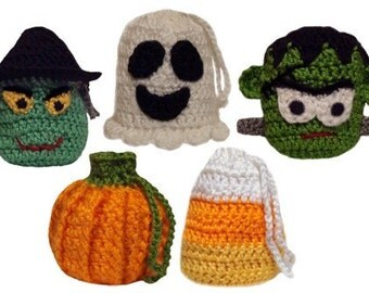 5 Halloween Goodie Bags - PDF Crochet Pattern - Instant Download
