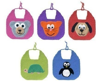 Animal Baby Bibs - PDF Crochet Pattern - Instant Download
