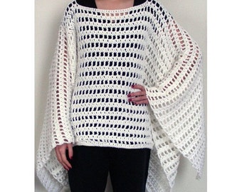 Striped Poncho - PDF Crochet Pattern - Instant Download