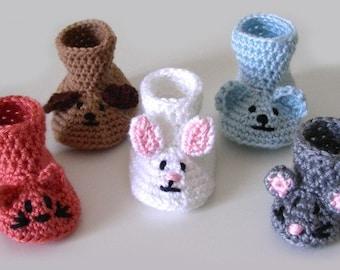 Animal Baby Booties - PDF Crochet Pattern - Instant Download