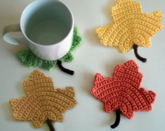 Maple Leaf Coasters - PDF Crochet Pattern - Instant Download