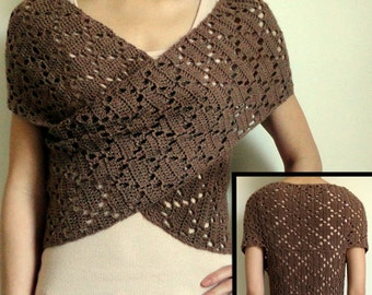 Diamond Eyelet Wrap Sweater - PDF Crochet Pattern - Instant Download