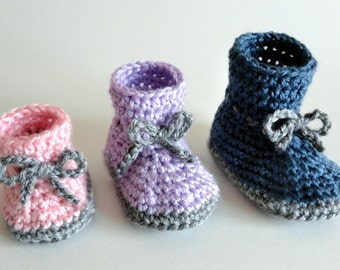 Classic Baby Booties (3 Sizes) - PDF Crochet Pattern - Instant Download