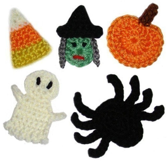 Halloween Appliques - PDF Crochet Pattern - Instant Download
