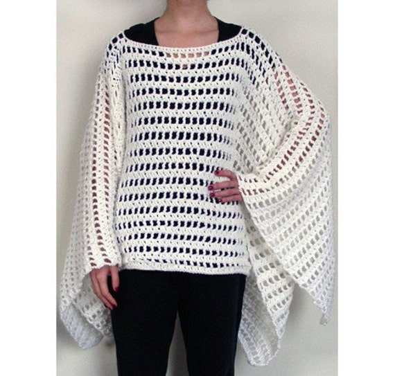 Knitting Pattern Striped Poncho : Striped Poncho PDF Crochet Pattern Instant Download