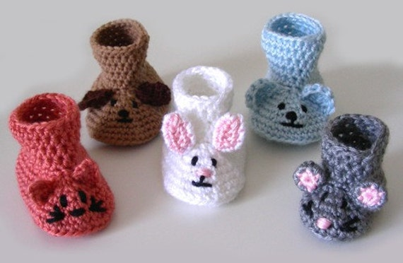 Crochet Bunny Baby Booties Pattern : Animal Baby Booties PDF Crochet Pattern Instant Download