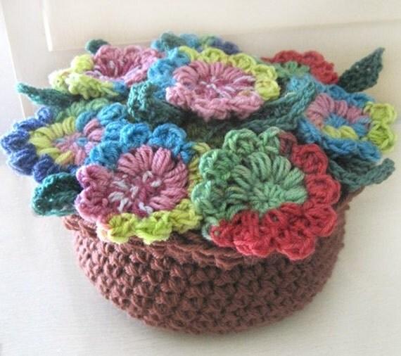 Crochet Flower In Pot Pattern : Potpourri Flower Pot PDF Crochet Pattern Instant Download