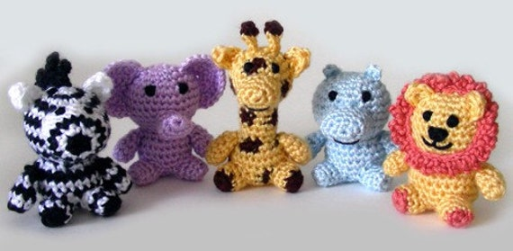 Crochet Patterns Jungle Animals : Little Safari Animals PDF Crochet Pattern Instant Download