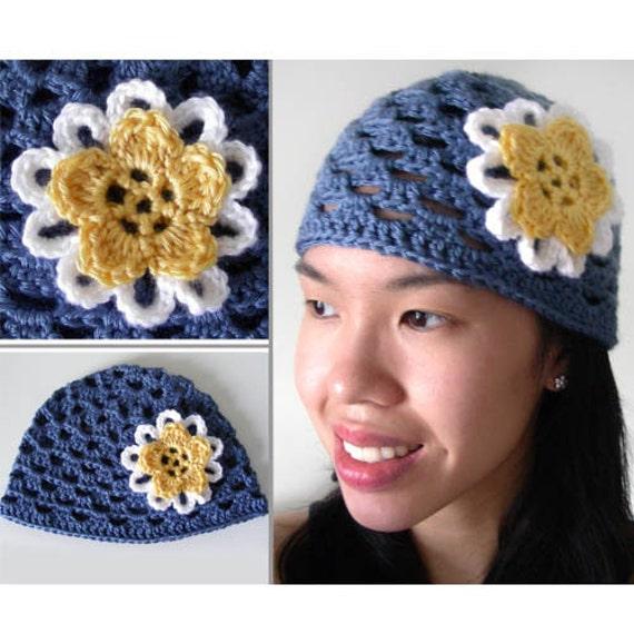 Spring Flower Beanie (5 sizes) - PDF Crochet Pattern - Instant Download