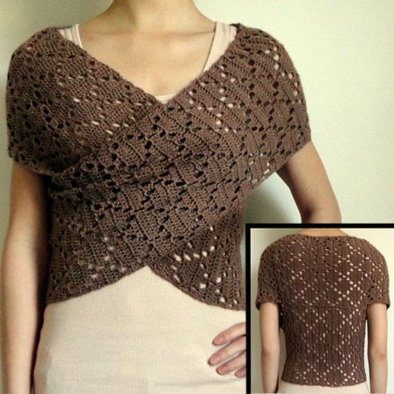 Diamond Eyelet Wrap Sweater - PDF Crochet Pattern - Instant Download