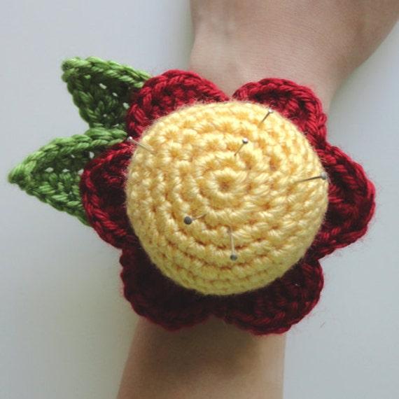 Flower Wrist Pattern: Flower Wrist Pin Cushion PDF Crochet Pattern Instant